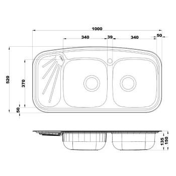 سینک آشپزخانه توکار Steel Alborz مدل 200